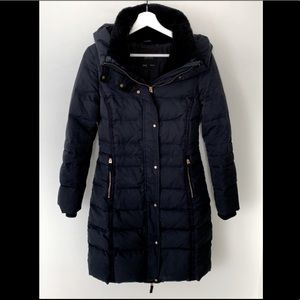 Zara Navy Down Parka Puffer Jacket - S